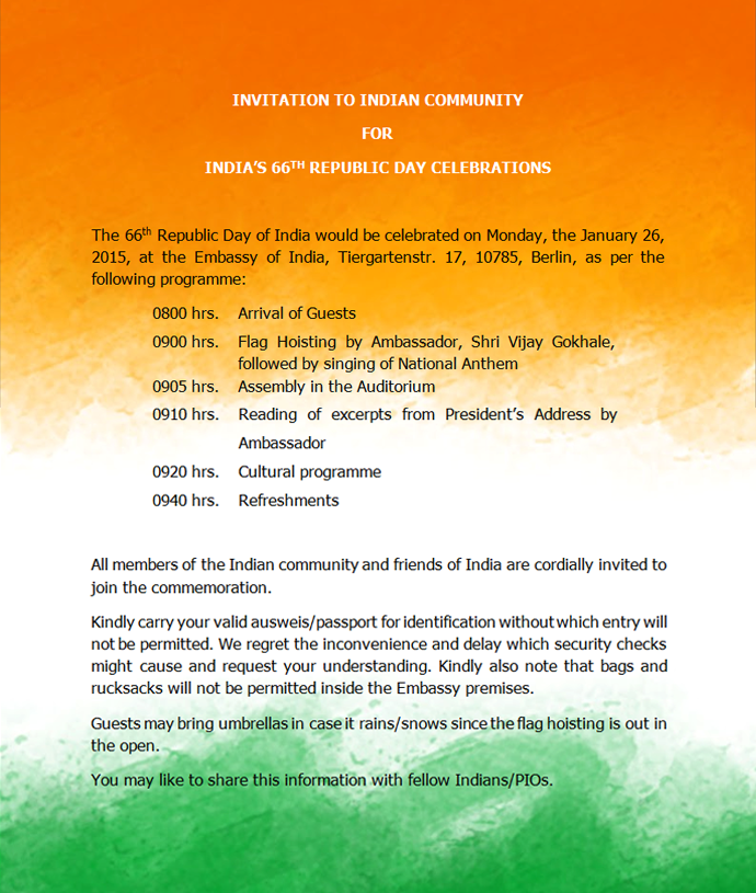 Invitation to Indian community for flaghoisting on Republic Day