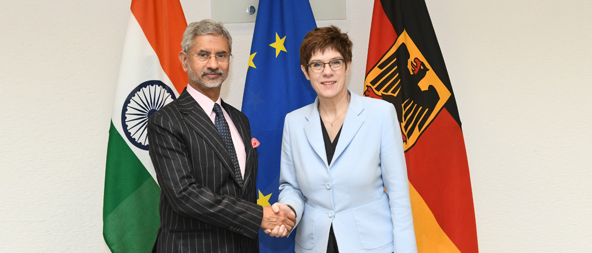 External Affairs Minister Dr. S. Jaishankar with Federal Minister of Defence Annegret Kramp-Karrenbauer <br>during his visit to Berlin, 18 February 2020
