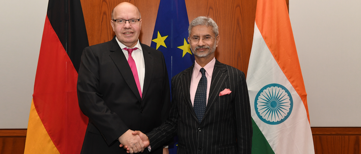 External Affairs Minister Dr. S. Jaishankar with Federal Minister of Economics and Energy Peter Altmaier<br> during his visit to Berlin, 18 February 2020.
