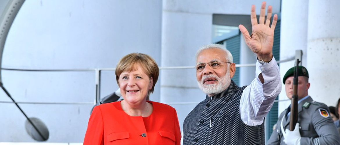 PM Modi and Chancellor Merkel in Berlin during the PMs short stop-over visit to Germany on April 20, 2018
