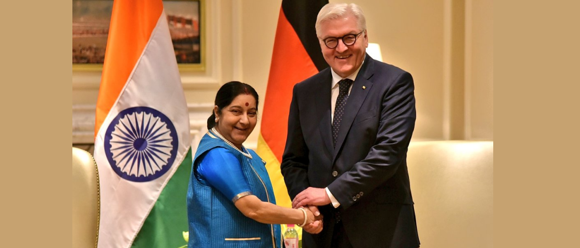 External Affairs Minister Smt. Sushma Swaraj with Federal President Dr. Frank Walter Steinmeier during his visit to India in March 2018