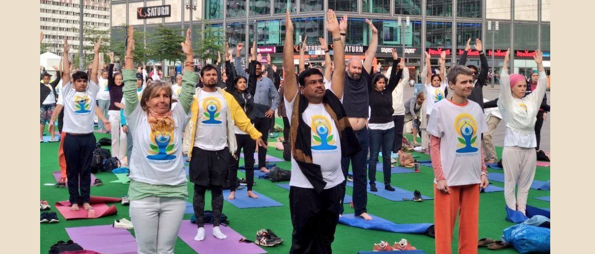 Celebration of 4th International Day of Yoga with Minister Shri Dharmendra Pradhan on June 21, 2018 at Alexanderplatz