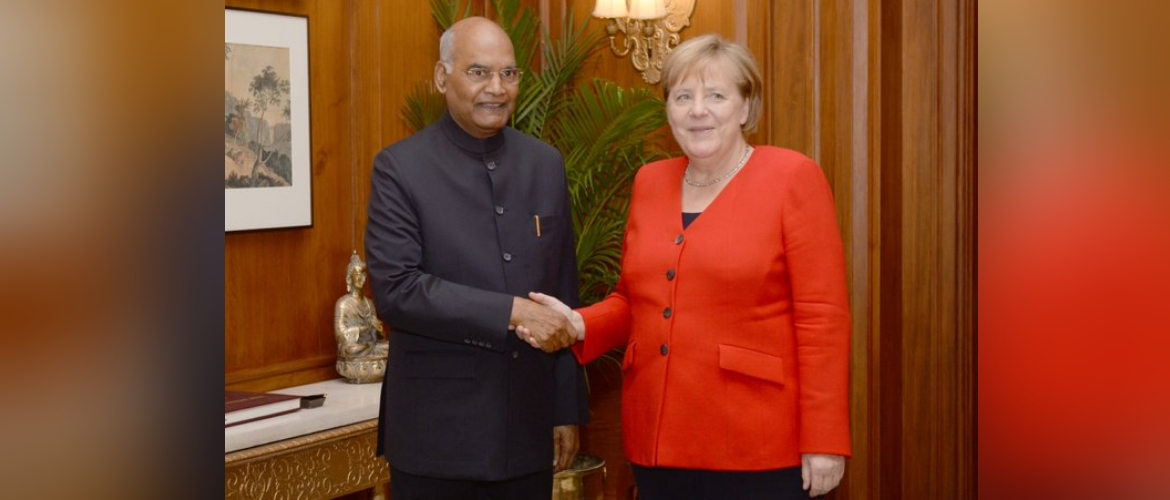Chancellor Merkel calls on President Shri Ram Nath Kovind during her India visit.