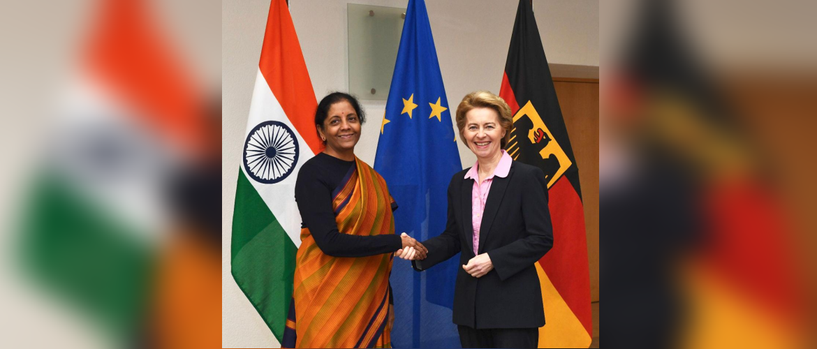 Smt. Nirmala Sitharaman, Minister of Defence of India and Ms. Ursula von der Leyen, Minister of Defence, Germany in Berlin, on February 12th 2019.